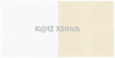 AIDA 14 / 16 / 18 CROSS STITCH FABRIC 100% COTTON - WHITE / CREAM, Various Sizes