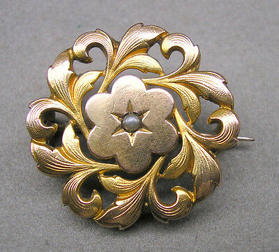 Antique French FIX Art Nouveau Brooch Gold Filled Seed Pearl Pin