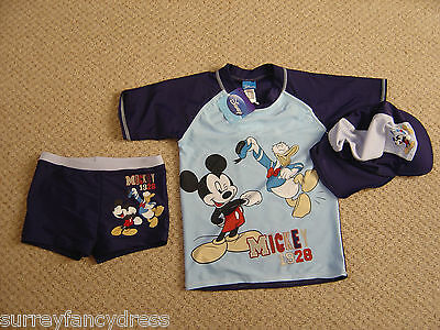 Disney Boys Mickey Mouse 3 piece Sunsuit 5 6 8 years Swimming