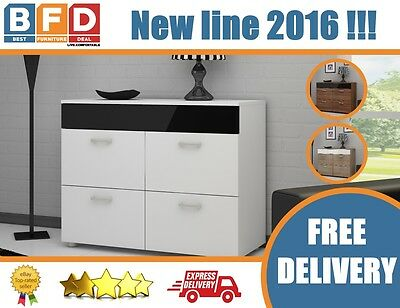 NEW Modern Sideboard with 4 Doors TV Cabinet Cupboard White, Black Gloss Buffet