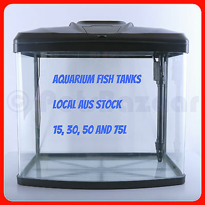GLASS FISH TANK - 15L 30L 50L 75L - Curved Aquarium Pump Filter Heater LED Light