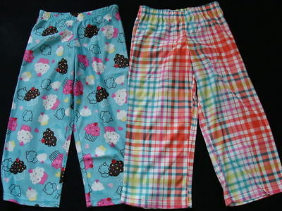 NWT Girls 2 Pair Fleece Pajama Pants Size 4 5 Winter Pjs Sleep Bottoms XS NEW