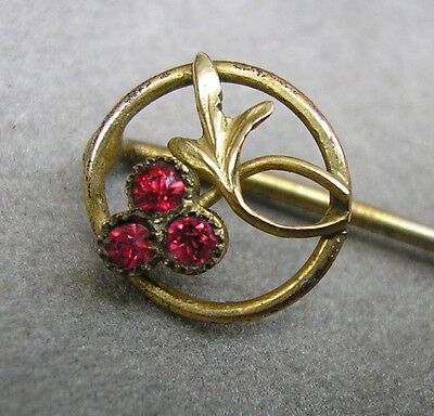 Antique French Ruby Stick Pin Brooch Hat or Cravat