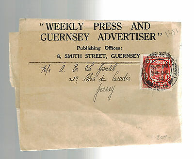 1943 Guernsey Channel Islands Occupation Cover Newswrapper Weekly Press Advertis