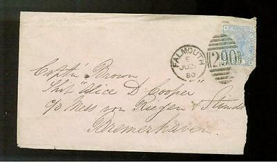 1880 Falmouth England Cover to Bremerhaven Germany # 66a
