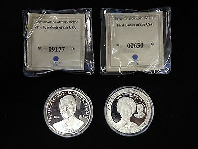 2000 & 2003 Liberia $20 Presidents of the US & Their Wives Silver Proofs