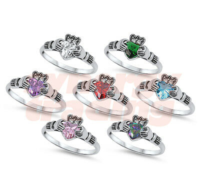 .925 Sterling Silver Irish CZ Stone Claddagh Promise Ring Size 5 6 7 8 9 10