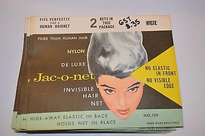 LOT OF 5 VINTAGE HAIR NETS Jac-o-net Nylon Deluxe #159  White