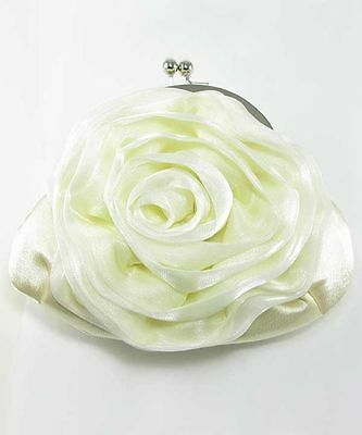 Ivory Satin Rose Evening Style Clutch Bag, Bridal, Wedding (Sparkle-1661)