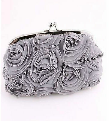 Pretty Gray Rosettes Evening Clutch Bag (Sparkle-1657-U)