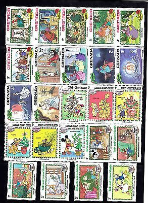 WAL DISNEY CHRISTMAS Thematic STAMP Collection Mint GRENADA TURKS CAIC RE:TH571J