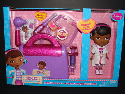 NEW Doc McStuffins Doctor's Bag Set + BONUS Doll Stethoscope Otoscope Disney Toy