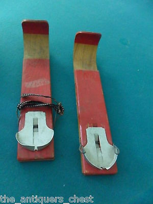 """Vintage Children's Wood Skis - F.D. Peters Co. Gloversville, NY, 13"""" long[*12b]"""