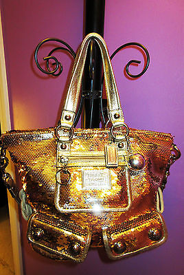 Authentic Coach Sequin Gold Poppy Spotlight - Rare - Limited Edition 15383