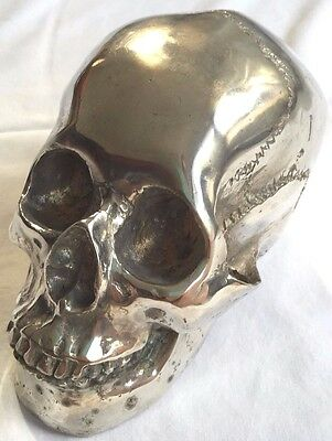 Pure Bronze Skull Silver Plated
