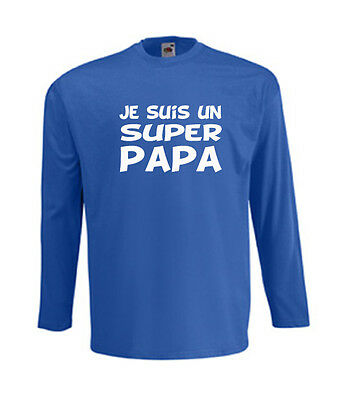 T-shirt bleu homme manches longues fruit of the loom JE SUIS UN SUPER PAPA