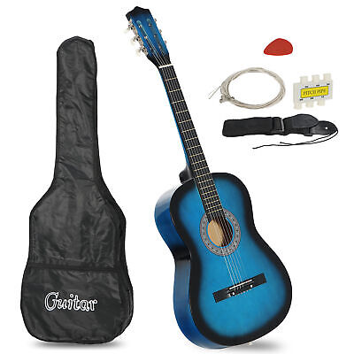 Beginners Acoustic Guitar With Guitar Case, Strap, Tuner and Pick Blue