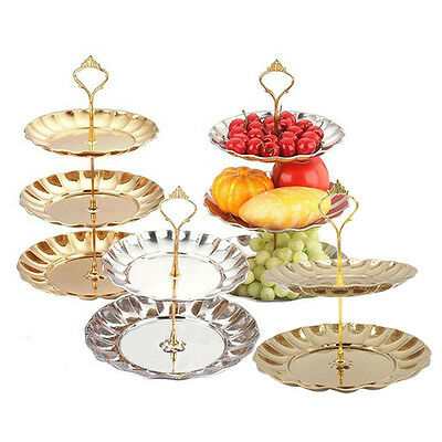 Stainless Steel Fruit Plates Stand Pastry Tray Candy Dishes Cake Desserts Layer