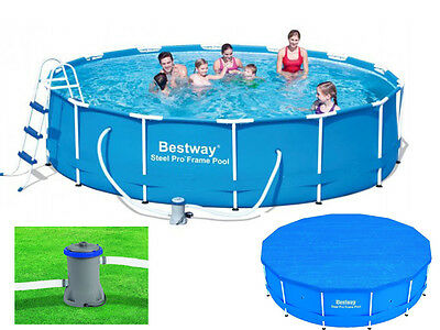 Bestway 14 Ft X 39.5 Steel Pro Frame Family Pool Swimming W/ Ladder/ Pump/ Cover