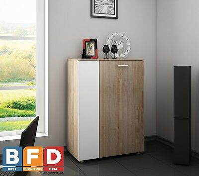 NEW Modern Small Sideboard with 2 Doors Cabinet Cupboard Black Gloss Buffet