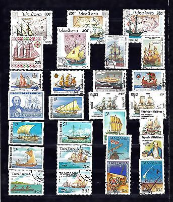 BOATS SHIPS Thematic STAMP COLLECTION Used Ref:TH585J
