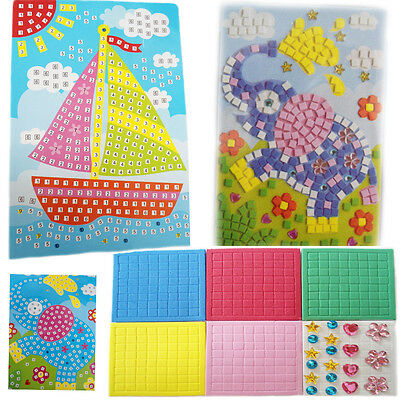 Art Mosaic Kit Kids Educational Sticker Blocks Activity Numbers Sequin Picture
