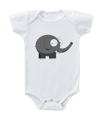 Cute Grey Elephant Infant Toddler Baby Cotton Bodysuit One Piece