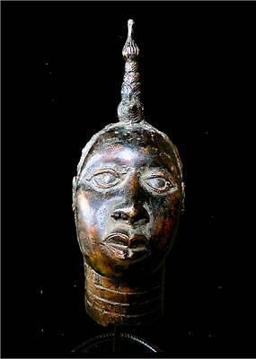 Old Tribal Ife Bronze  Head of Oba (King) --- South West, Nigeria