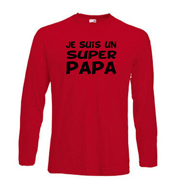 T-shirt rouge homme manches longues fruit of the loom JE SUIS UN SUPER PAPA
