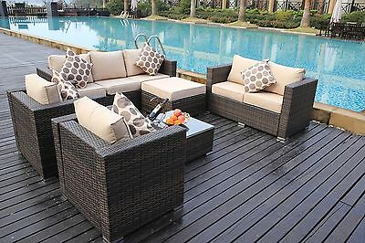 Rattan Garden Furniture Set Sofa Table Chairs Conservatory Outdoor Brown
