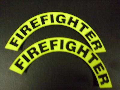 Firefighter 3M Yellow  For Fire Helmet Or Hardhats Crescents  Pair
