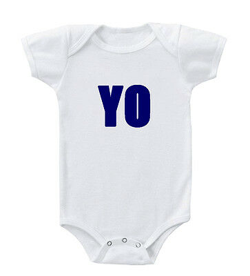 Funny Blue Word Yo Infant Toddler Baby Cotton Bodysuit One Piece