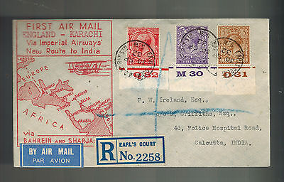 1932 Earls Court England First Flight Cover to India via Imperial Airways FFC