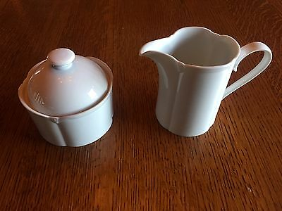 BLOCK SPAL Classic White CREAMER AND SUGAR BOWL WITH LID Portugal China