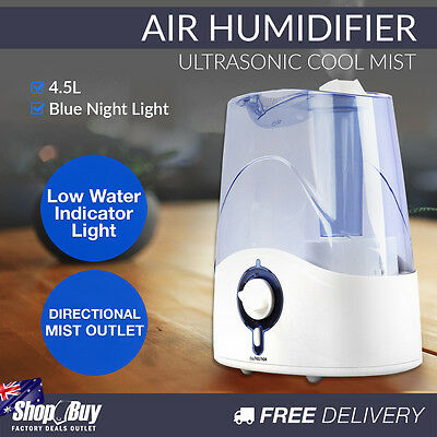 4.5L Air Humidifier Ultrasonic Cool Mist Nebuliser Aroma Steam Purifier Diffuser