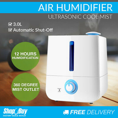 3L Air Humidifier Ultrasonic Cool Mist Nebuliser Aroma Steam Purifier Diffuser