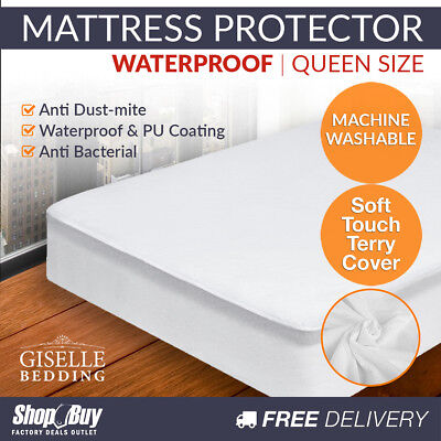 140GSM Terry Cotton Waterproof Mattress Protector Fully Fitted Bed Cover Queen