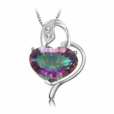 JewelryPalace 8ct Fire Rainbow Coated Quartz Pendant Necklace 16inch 925 Silver