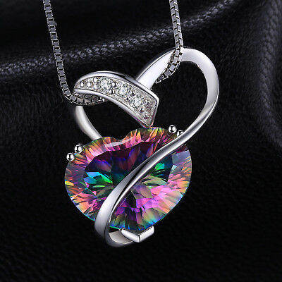 925 SterlingSilver Natural Heart 6ct Fire Rainbow Coated Quartz Pendent Necklace