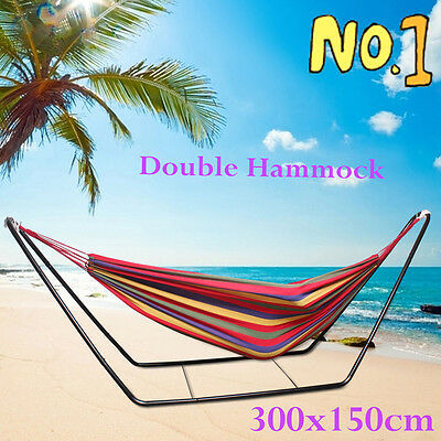 Double Hammock With Steel frame Stand combo Swinging Camping Outdoor