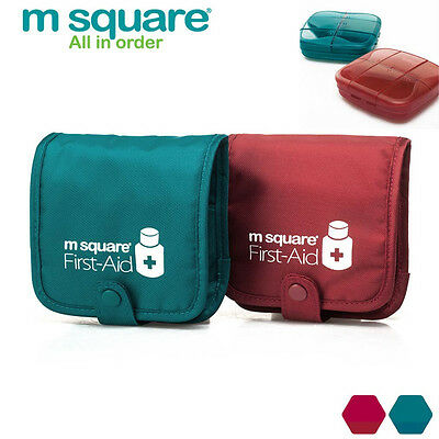 M Square Tablet Pill Storage Box Organizer With Bag Container Holder Travel #UK