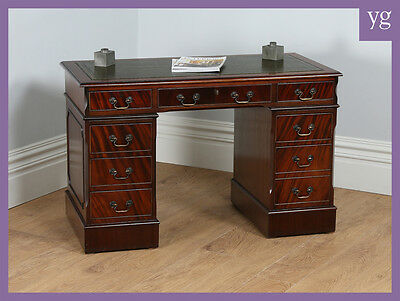Antique Georgian Style 4ft Mahogany Leather Pedestal Writing Office Desk Table