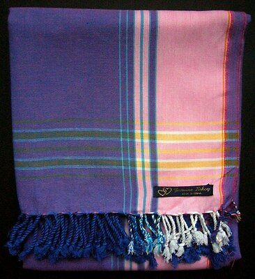 Kikoy Kikoi Purple Pink Stripe Africa Cotton Sarong Throw Scarf Kenya Swimwear
