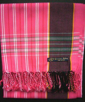 Kikoy Kikoi Pink White Stripe Africa Cotton Sarong Throw Scarf Kenya Swimwear