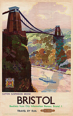 Home Wall Art Print - Vintage Travel Poster - BRISTOL - A4,A3,A2,A1