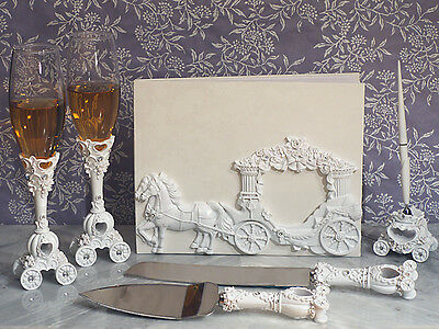 White Cinderella Enchanted Royal Carriage Wedding Guest Book Flutes Cake Set