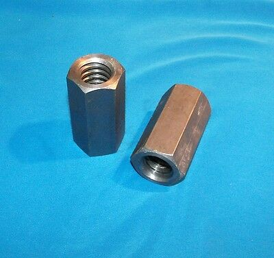 """1""""-5 acme coupling nuts 2-pack steel 1 3/8"""" hex x 2.75 long right hand"""