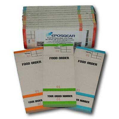 10 Tear Off Slip Coloured Restaurant Cafe Pub Food Waiter Numbered Order Pads