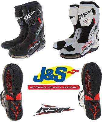 Rst Pro Series 1503 Race Track Boots Black White Motorcycle Motorbike Sports J&s