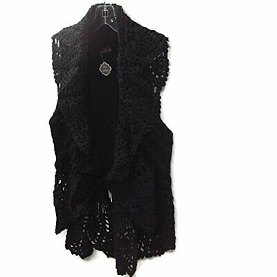 The Good Bead Coco & Carmen Black Crochet Collar Cable Knit Vest LG/XL